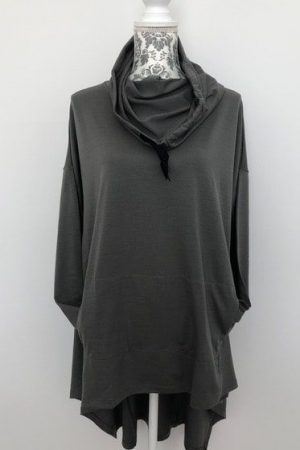 Merino Hooded Asymmetric Top -Plus