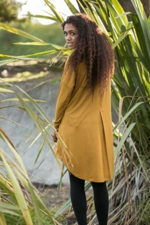 Merino Pleat back Long Top -Plus