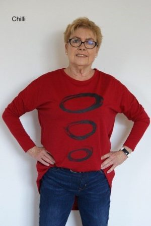 """Circle"" Print Bell Shaped Merino Top"