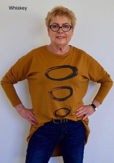 Buy mustard long length merino wool top crew neck printed tunic