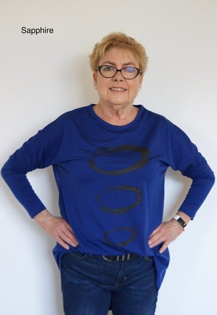 Buy royal blue long length merino wool top crew neck printed tunic