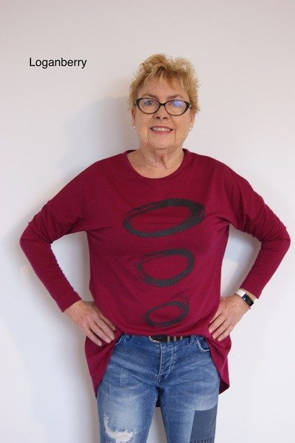 Buy dark berry long length merino wool top crew neck printed tunic