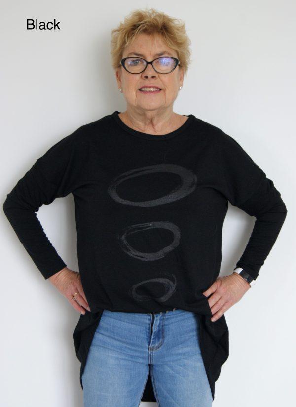 Buy black long length merino wool top crew neck printed tunic