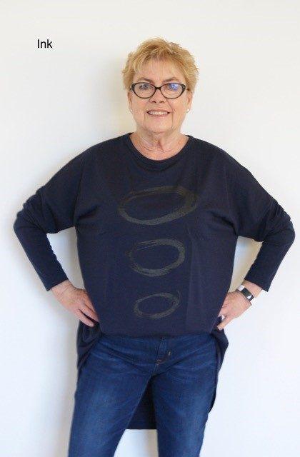 Buy dark blue long length merino wool top crew neck printed tunic