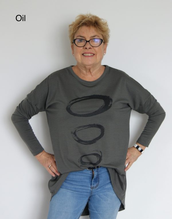 Buy oil long length merino wool top crew neck printed tunic