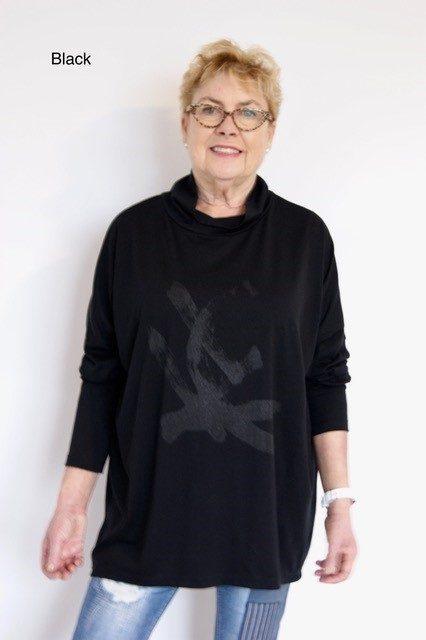 Buy black long length merino wool top cowl neck printed tunic