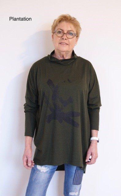 Buy dark green long length merino wool top cowl neck printed tunic