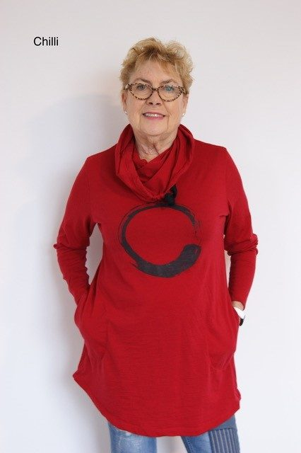 Buy red long length merino wool top cowl neck printed tunic