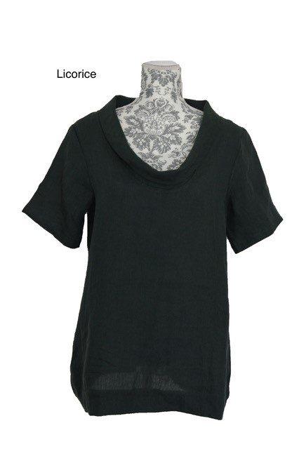 buy linen roll neck top asphalt
