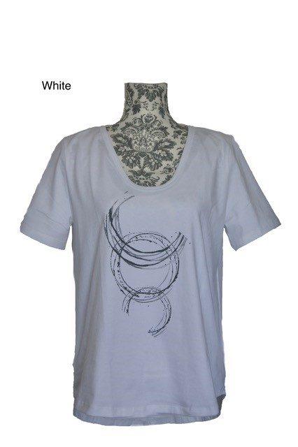 buy Deep U Neck Cotton Tee with Galaxy print