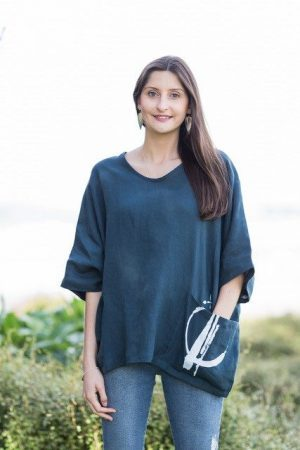 Wide Magyar Linen Top with Printed Pocket