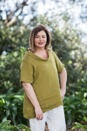 Plus Size Roll Neck Linen Top
