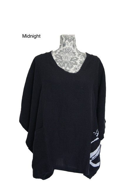 buy linen wide neck magyar top midnight