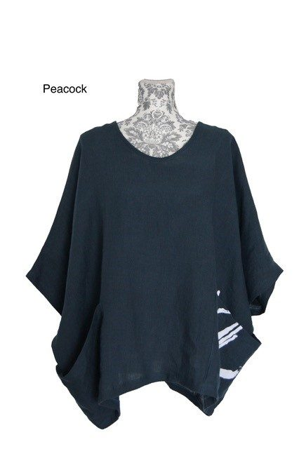 buy linen wide neck magyar top peacock
