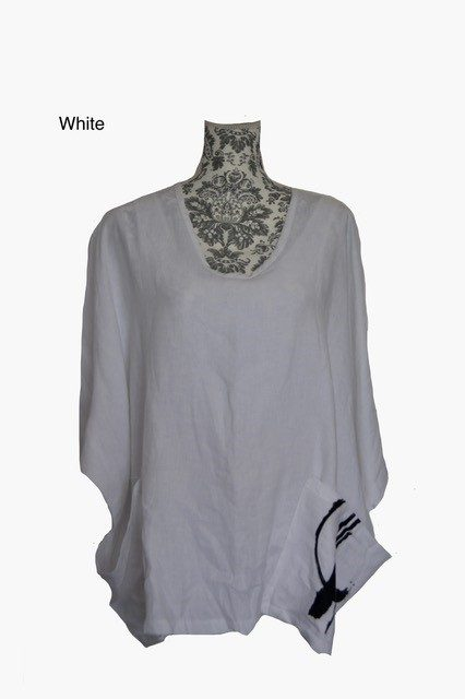 buy linen wide neck magyar top white