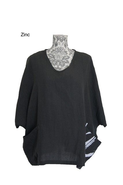buy linen wide neck magyar top zinc